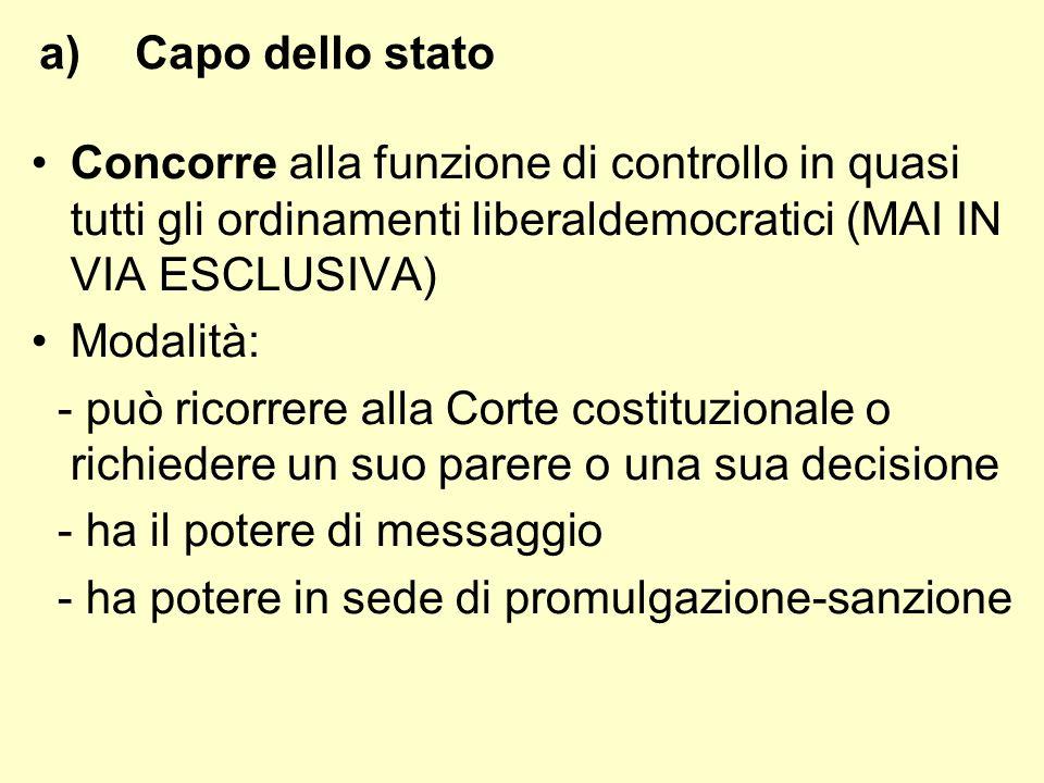 a)Capo dello stato Concorre alla funzione di controllo in quasi tutti gli ordinamenti liberaldemocratici (MAI IN VIA ESCLUSIVA) Modalità: - può ricorr