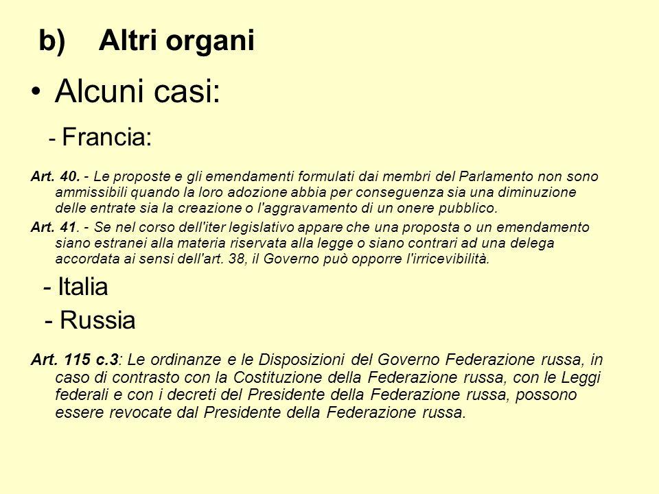 b)Altri organi Alcuni casi: - Francia: Art. 40. - Le proposte e gli emendamenti formulati dai membri del Parlamento non sono ammissibili quando la lor