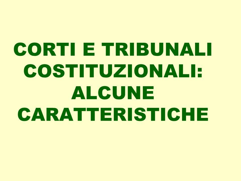 CORTI E TRIBUNALI COSTITUZIONALI: ALCUNE CARATTERISTICHE