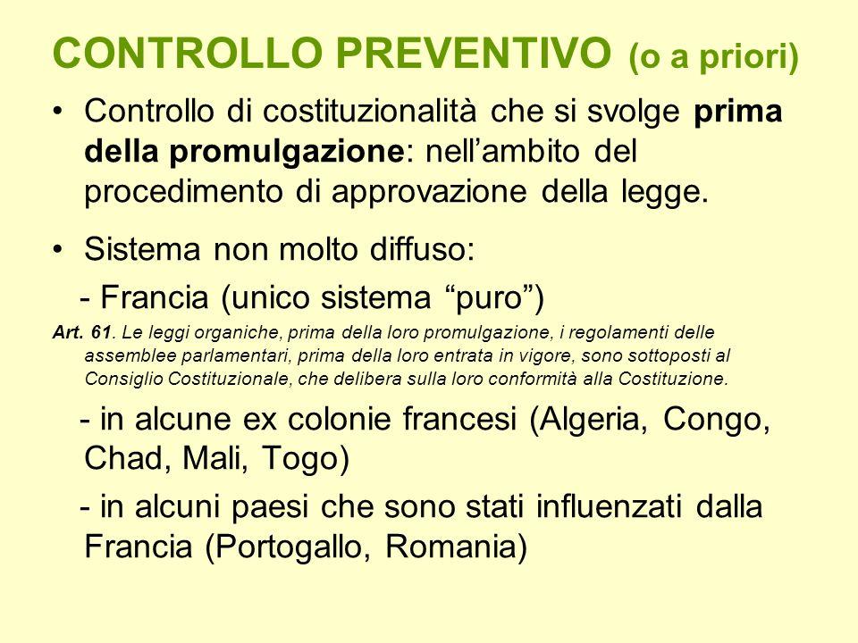 CONTROLLO PREVENTIVO (o a priori) Controllo di costituzionalità che si svolge prima della promulgazione: nellambito del procedimento di approvazione d