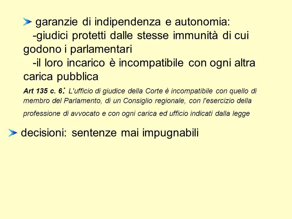 garanzie di indipendenza e autonomia: -giudici protetti dalle stesse immunità di cui godono i parlamentari -il loro incarico è incompatibile con ogni