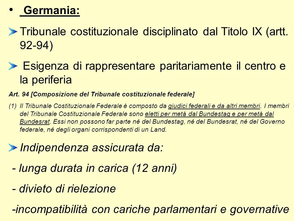 Germania: Tribunale costituzionale disciplinato dal Titolo IX (artt. 92-94) Esigenza di rappresentare paritariamente il centro e la periferia Art. 94