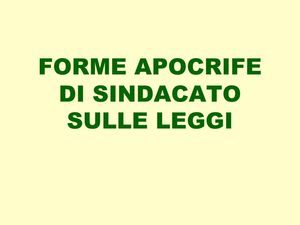 FORME APOCRIFE DI SINDACATO SULLE LEGGI