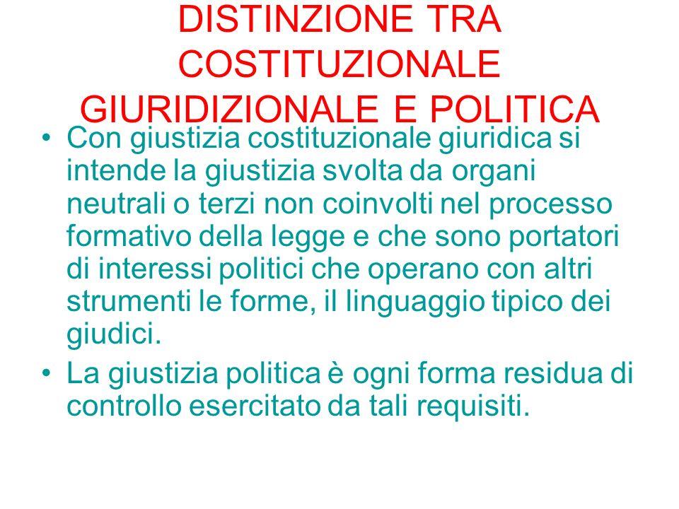 DISTINZIONE TRA COSTITUZIONALE GIURIDIZIONALE E POLITICA Con giustizia costituzionale giuridica si intende la giustizia svolta da organi neutrali o te