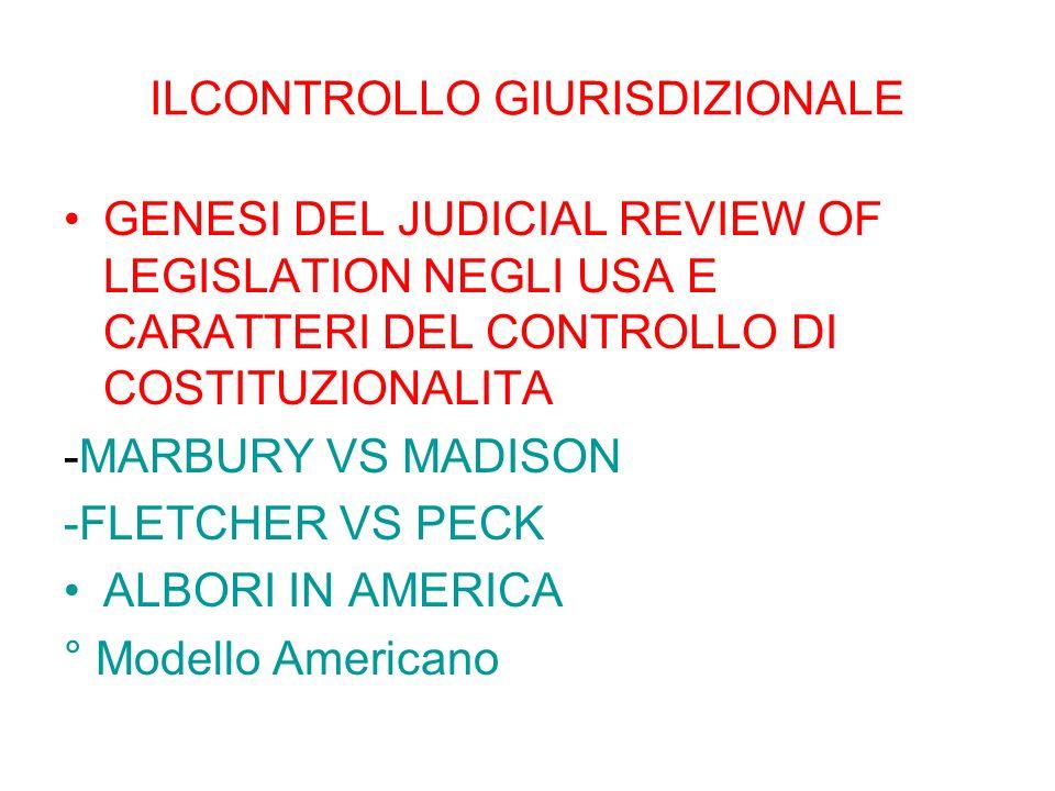 ILCONTROLLO GIURISDIZIONALE GENESI DEL JUDICIAL REVIEW OF LEGISLATION NEGLI USA E CARATTERI DEL CONTROLLO DI COSTITUZIONALITA -MARBURY VS MADISON -FLE