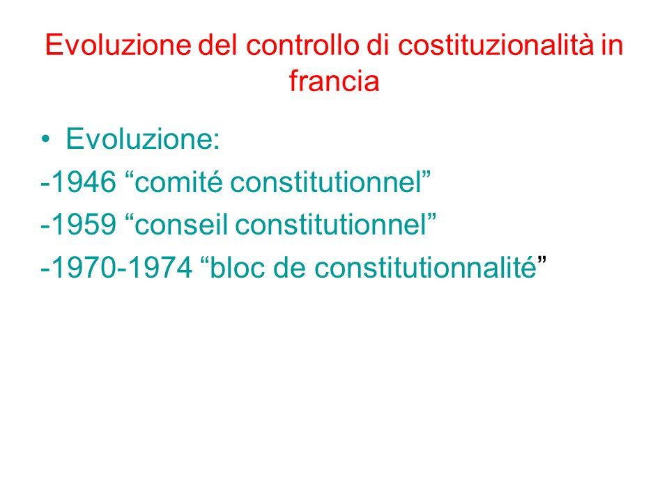 Evoluzione del controllo di costituzionalità in francia Evoluzione: -1946 comité constitutionnel -1959 conseil constitutionnel -1970-1974 bloc de cons