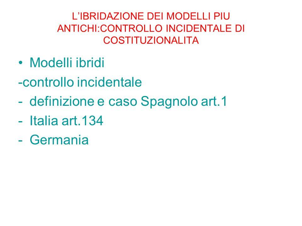 LIBRIDAZIONE DEI MODELLI PIU ANTICHI:CONTROLLO INCIDENTALE DI COSTITUZIONALITA Modelli ibridi -controllo incidentale -definizione e caso Spagnolo art.