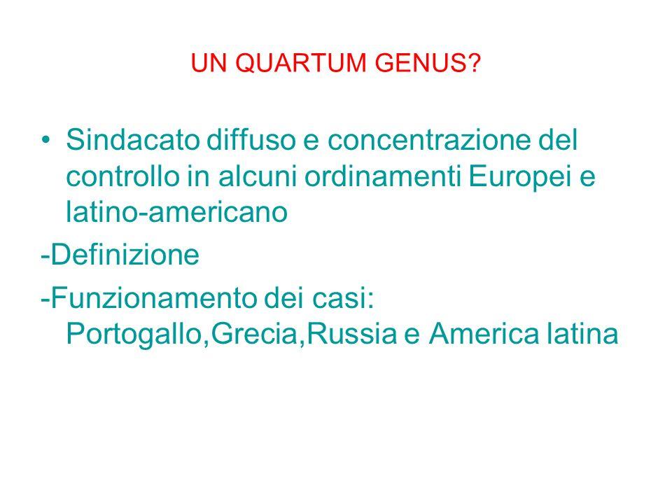 UN QUARTUM GENUS? Sindacato diffuso e concentrazione del controllo in alcuni ordinamenti Europei e latino-americano -Definizione -Funzionamento dei ca