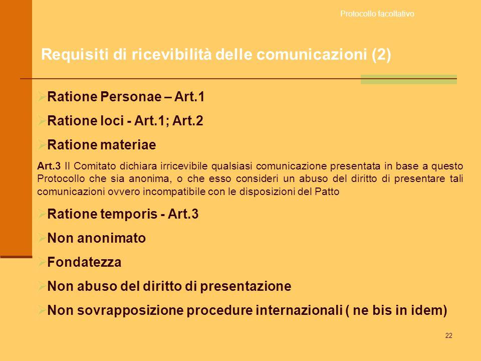 22 Ratione Personae – Art.1 Ratione loci - Art.1; Art.2 Ratione materiae Art.3 Il Comitato dichiara irricevibile qualsiasi comunicazione presentata in