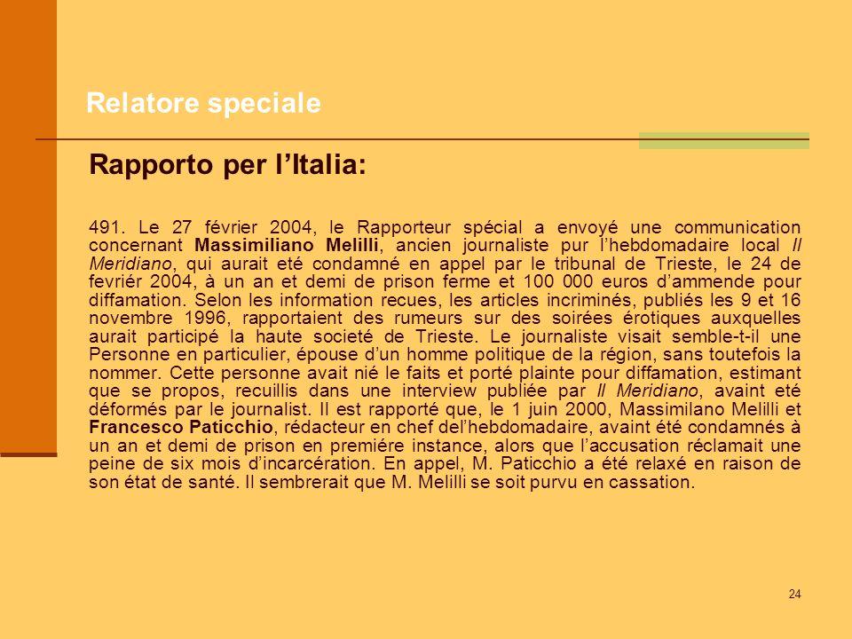 24 Relatore speciale Rapporto per lItalia: 491. Le 27 février 2004, le Rapporteur spécial a envoyé une communication concernant Massimiliano Melilli,
