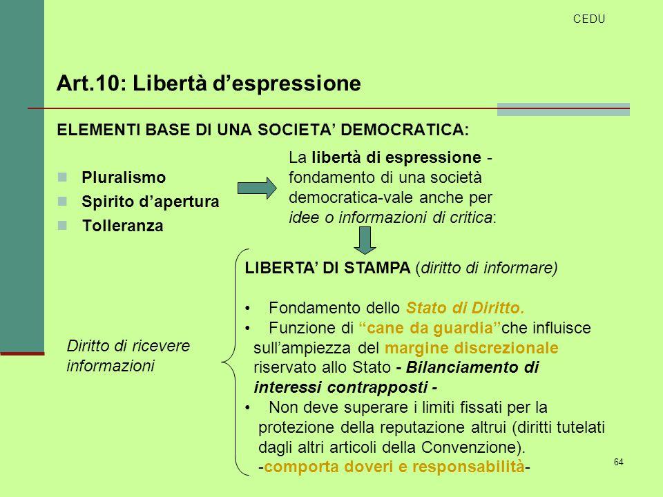64 ELEMENTI BASE DI UNA SOCIETA DEMOCRATICA: Pluralismo Spirito dapertura Tolleranza La libertà di espressione - fondamento di una società democratica