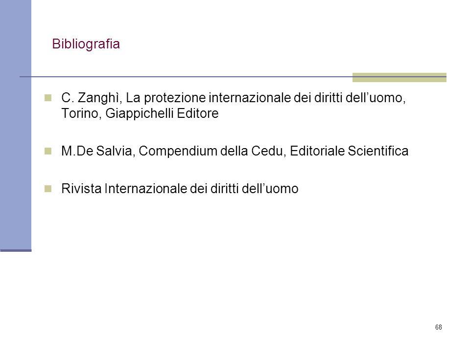 68 Bibliografia C. Zanghì, La protezione internazionale dei diritti delluomo, Torino, Giappichelli Editore M.De Salvia, Compendium della Cedu, Editori