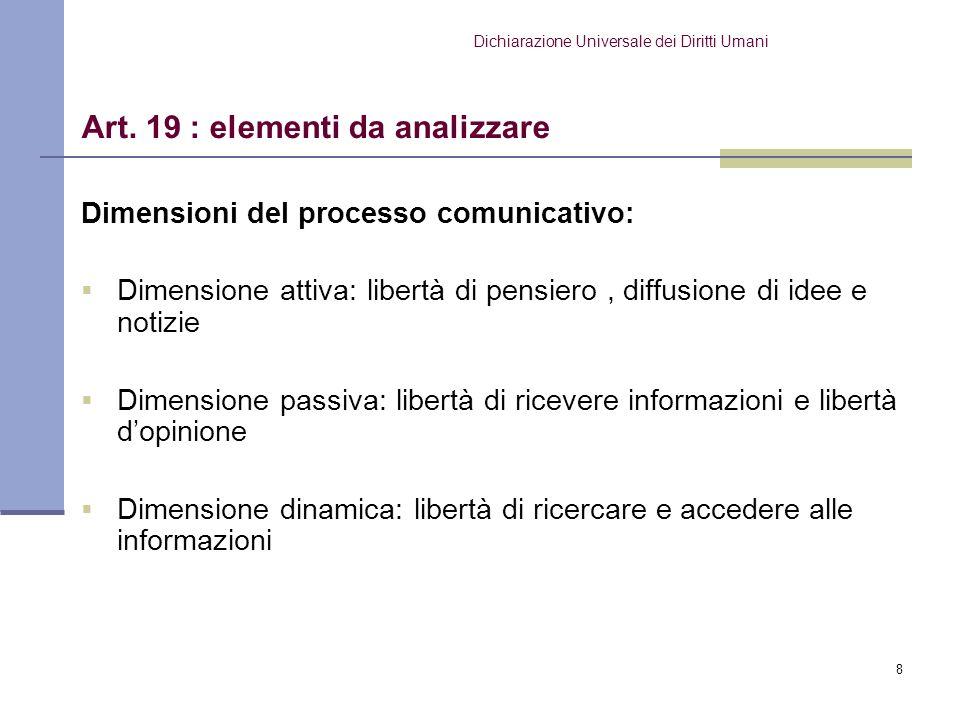 8 Dimensioni del processo comunicativo: Dimensione attiva: libertà di pensiero, diffusione di idee e notizie Dimensione passiva: libertà di ricevere i
