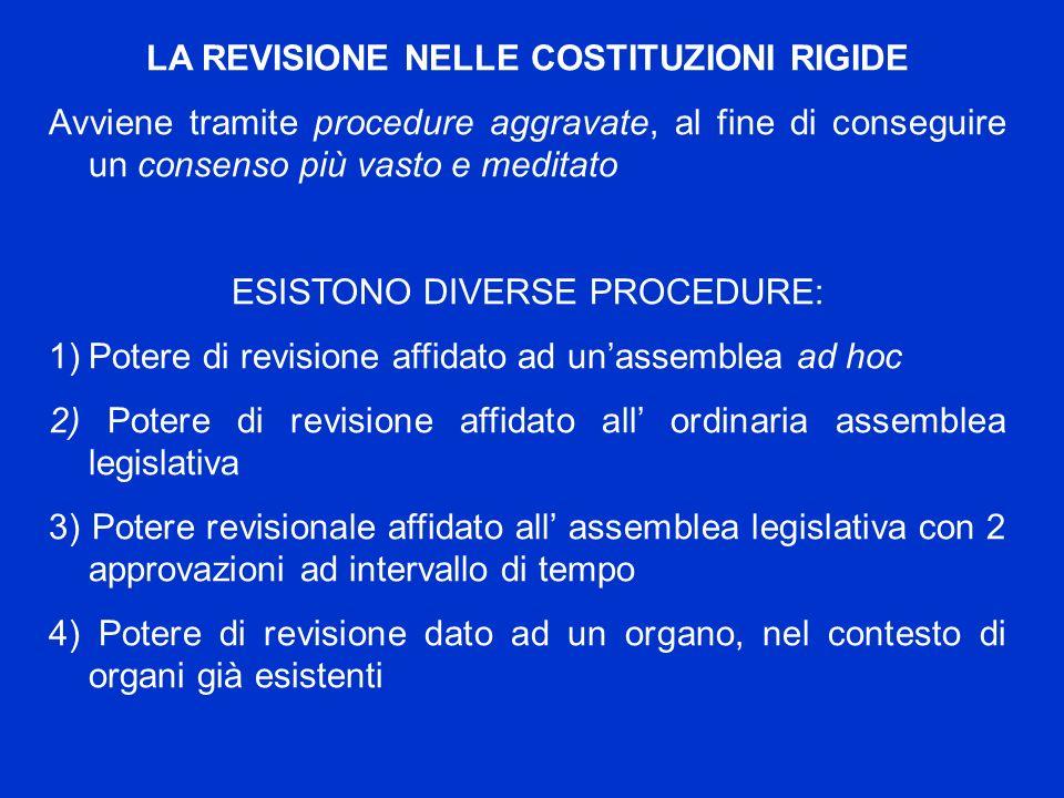 LA REVISIONE NELLE COSTITUZIONI RIGIDE Avviene tramite procedure aggravate, al fine di conseguire un consenso più vasto e meditato ESISTONO DIVERSE PR