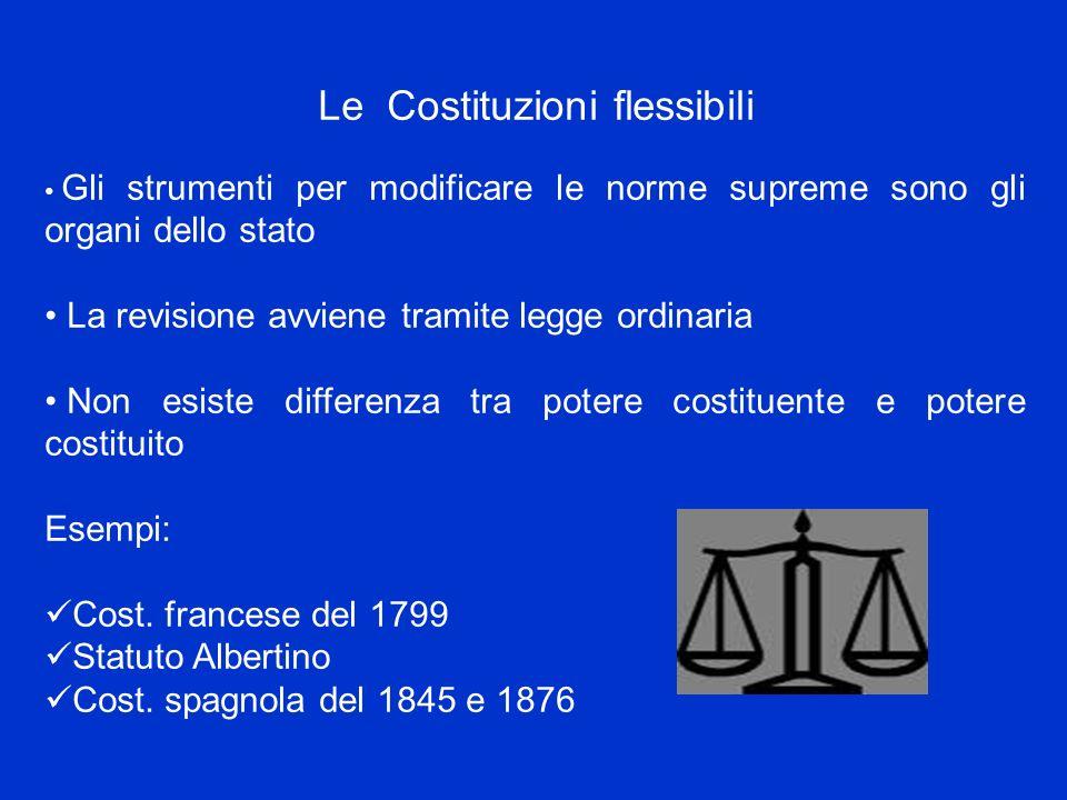Le Costituzioni flessibili Gli strumenti per modificare le norme supreme sono gli organi dello stato La revisione avviene tramite legge ordinaria Non
