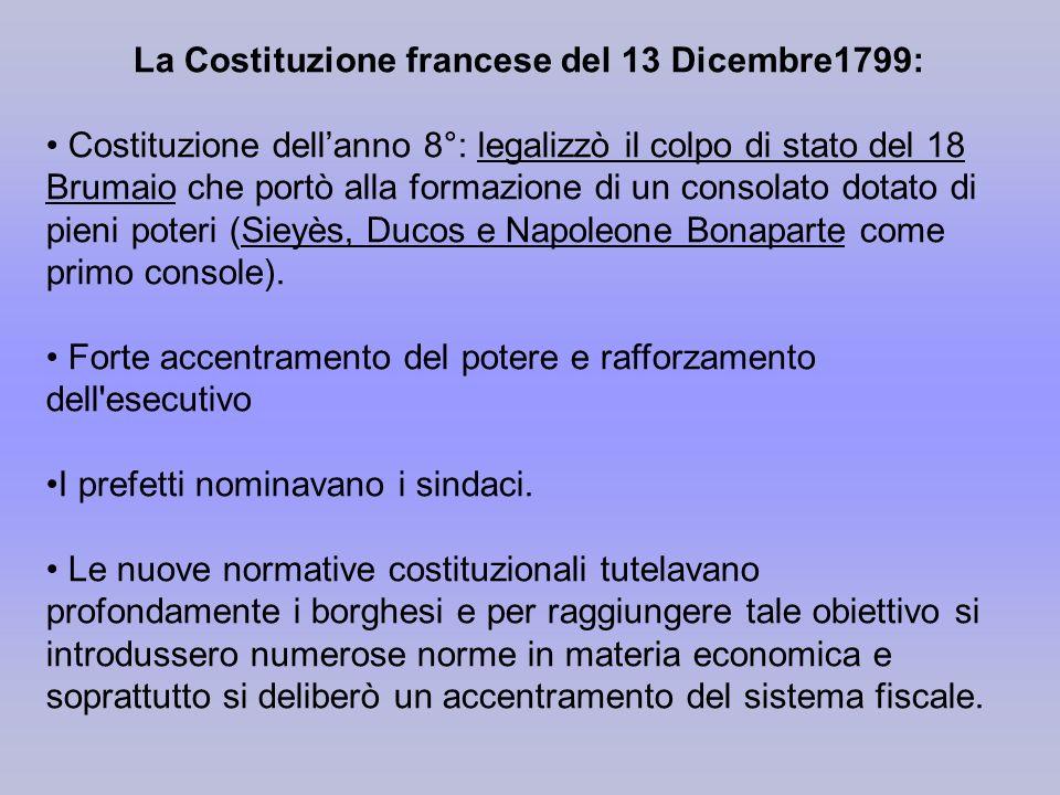 La Costituzione francese del 13 Dicembre1799: Costituzione dellanno 8°: legalizzò il colpo di stato del 18 Brumaio che portò alla formazione di un con