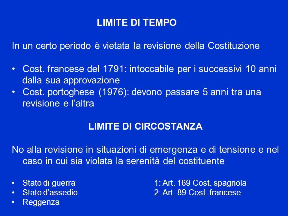 LIMITE DI TEMPO In un certo periodo è vietata la revisione della Costituzione Cost. francese del 1791: intoccabile per i successivi 10 anni dalla sua