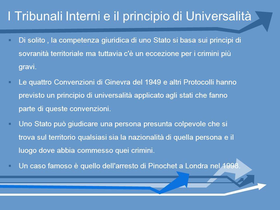 I Tribunali Interni e il principio di Universalità Di solito, la competenza giuridica di uno Stato si basa sui principi di sovranità territoriale ma t