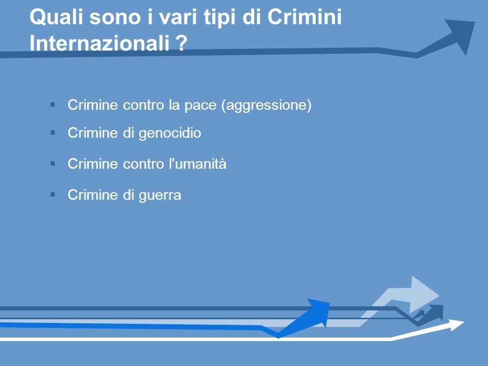 Quali sono i vari tipi di Crimini Internazionali ? Crimine contro la pace (aggressione) Crimine di genocidio Crimine contro l'umanità Crimine di guerr