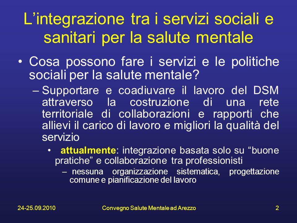 24-25.09.2010Convegno Salute Mentale ad Arezzo2 Lintegrazione tra i servizi sociali e sanitari per la salute mentale Cosa possono fare i servizi e le politiche sociali per la salute mentale.