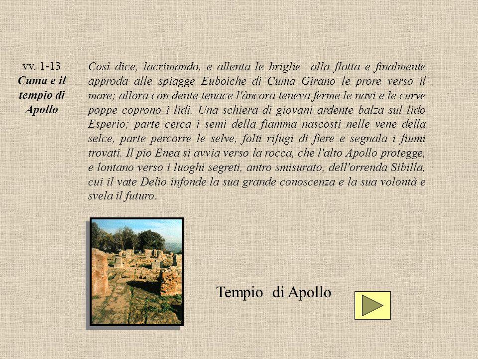 vv. 1-13 Cuma e il tempio di Apollo Così dice, lacrimando, e allenta le briglie alla flotta e finalmente approda alle spiagge Euboiche di Cuma Girano