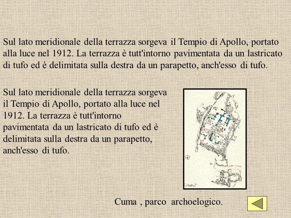 Sul lato meridionale della terrazza sorgeva il Tempio di Apollo, portato alla luce nel 1912. La terrazza è tutt'intorno pavimentata da un lastricato d