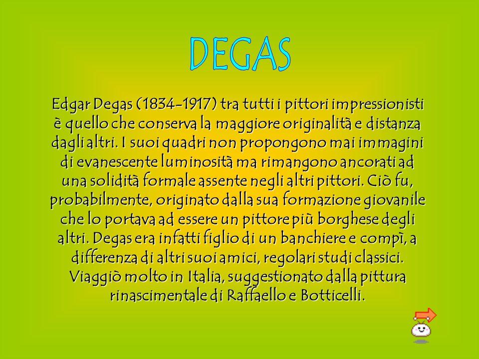 Edgar Degas (1834-1917) tra tutti i pittori impressionisti è quello che conserva la maggiore originalità e distanza dagli altri. I suoi quadri non pro