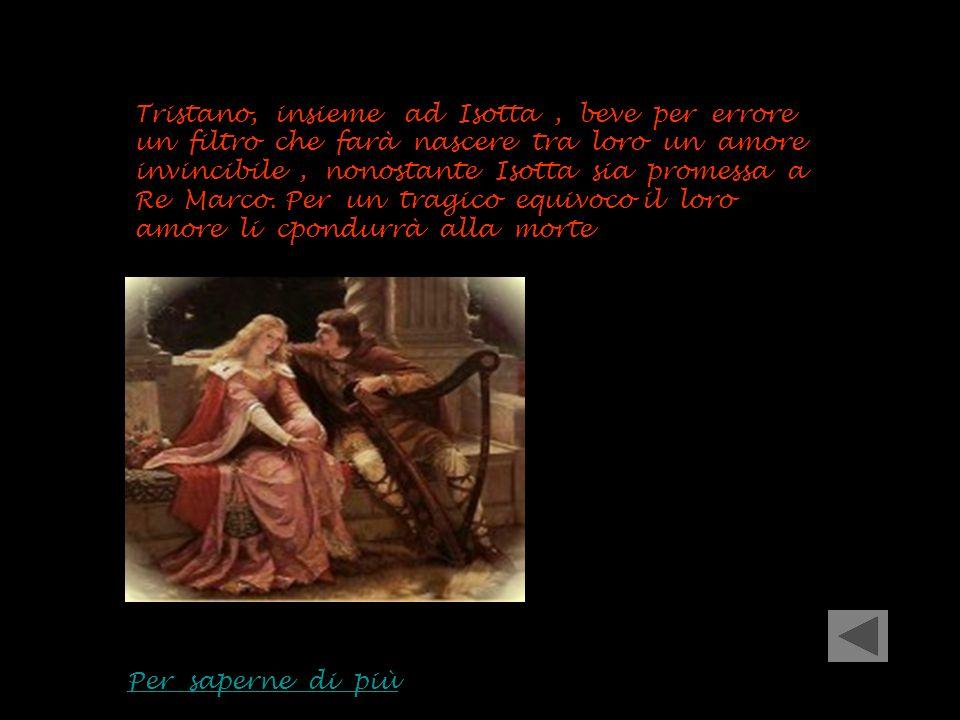 Tristano, insieme ad Isotta, beve per errore un filtro che farà nascere tra loro un amore invincibile, nonostante Isotta sia promessa a Re Marco. Per