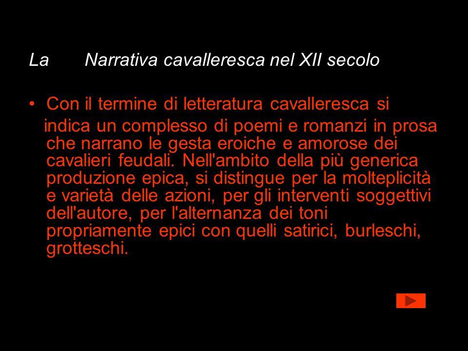 La Narrativa cavalleresca nel XII secolo Con il termine di letteratura cavalleresca si indica un complesso di poemi e romanzi in prosa che narrano le