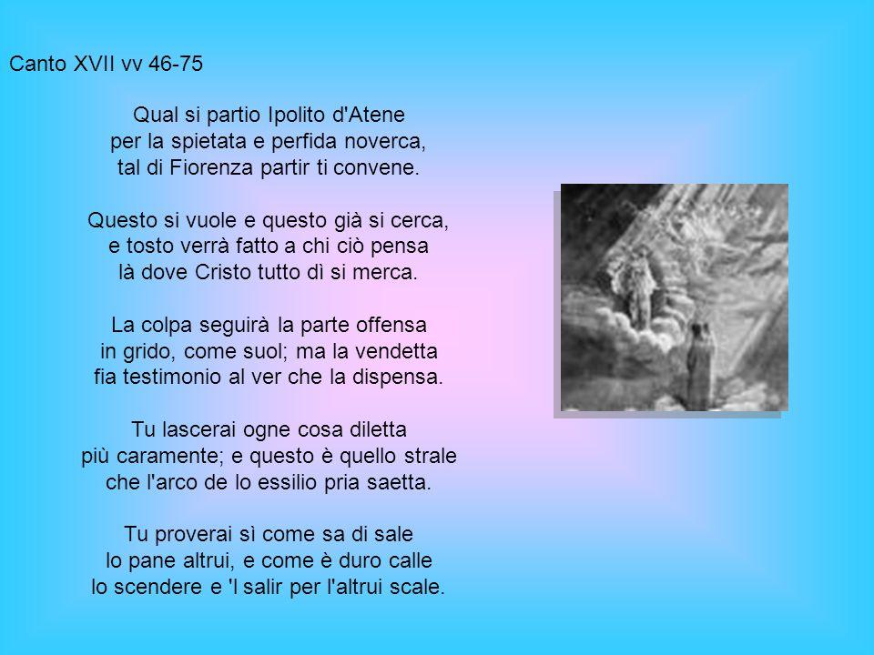 Canto XVII vv 46-75 Qual si partio Ipolito d'Atene per la spietata e perfida noverca, tal di Fiorenza partir ti convene. Questo si vuole e questo già