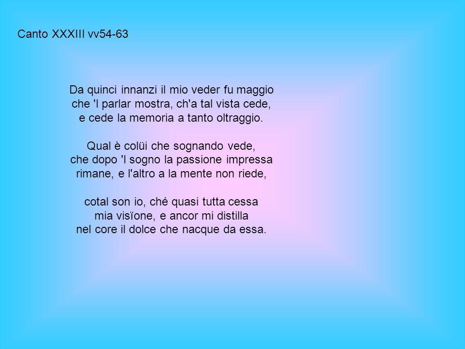 Canto XXXIII vv54-63 Da quinci innanzi il mio veder fu maggio che 'l parlar mostra, ch'a tal vista cede, e cede la memoria a tanto oltraggio. Qual è c