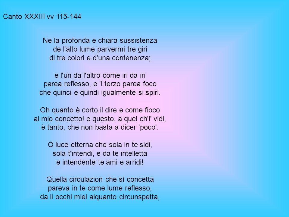 Canto XXXIII vv 115-144 Ne la profonda e chiara sussistenza de l'alto lume parvermi tre giri di tre colori e d'una contenenza; e l'un da l'altro come