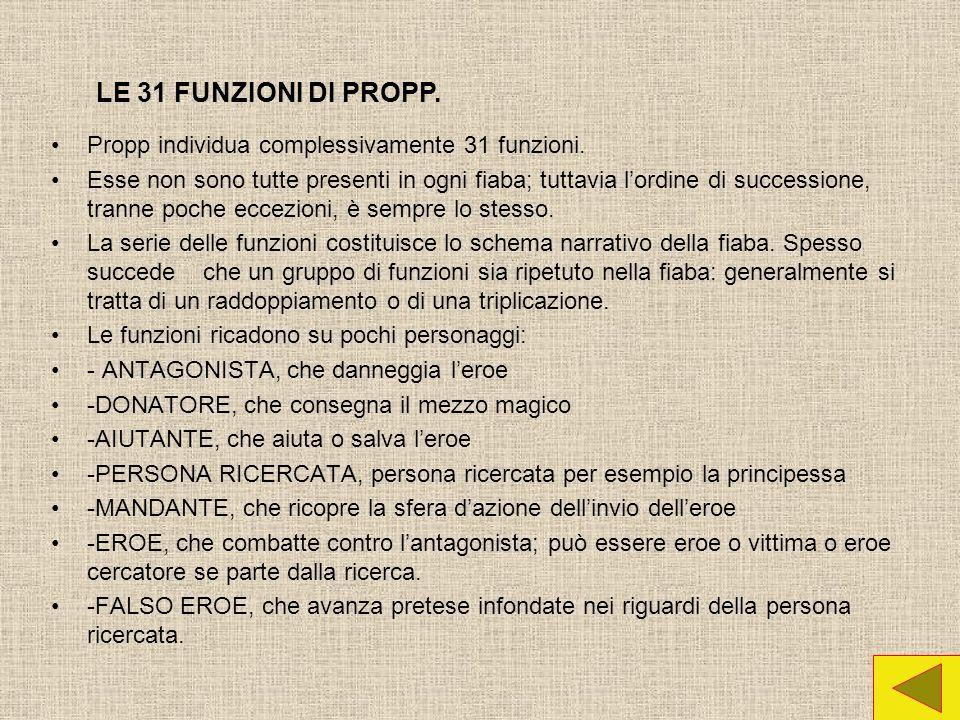 Propp individua complessivamente 31 funzioni.