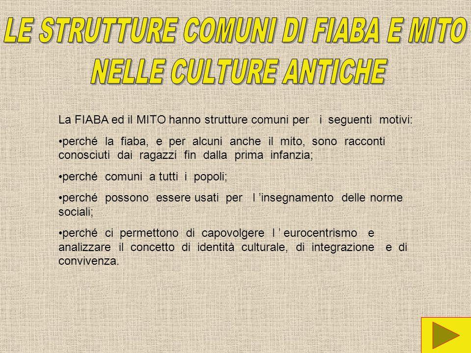 La FIABA ed il MITO hanno strutture comuni per i seguenti motivi: perché la fiaba, e per alcuni anche il mito, sono racconti conosciuti dai ragazzi fi