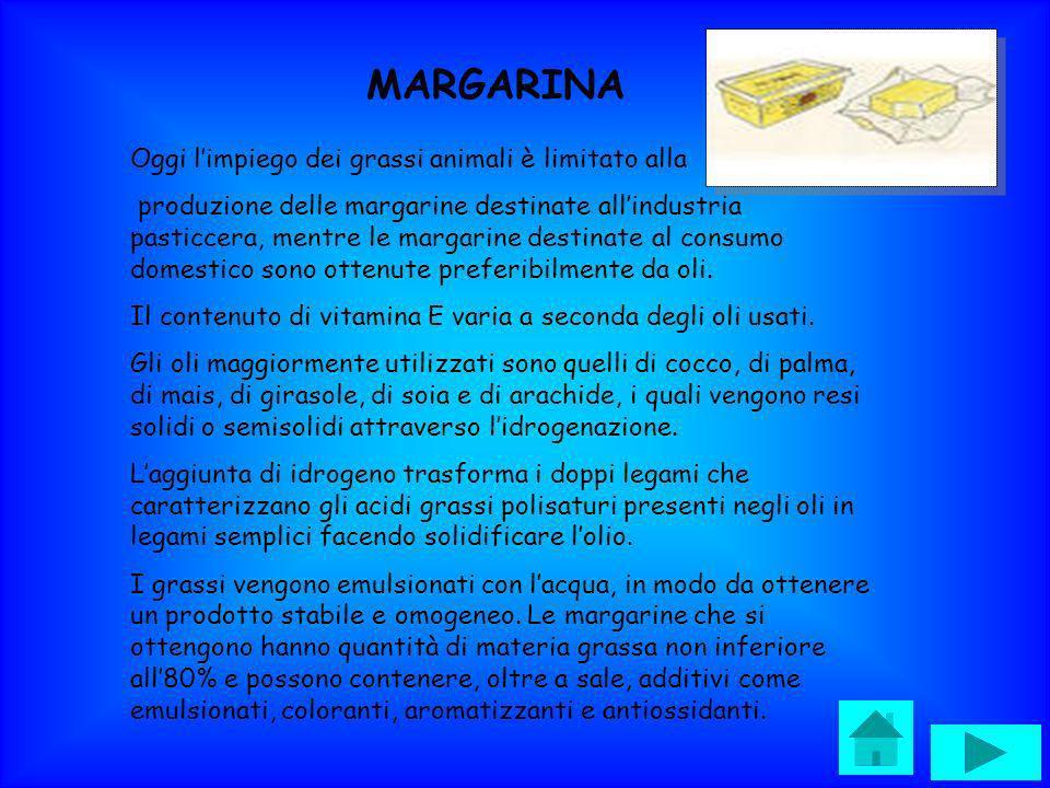 MARGARINA Oggi limpiego dei grassi animali è limitato alla produzione delle margarine destinate allindustria pasticcera, mentre le margarine destinate