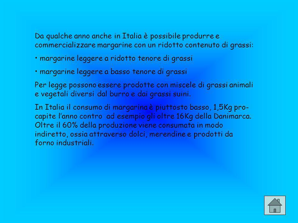 Da qualche anno anche in Italia è possibile produrre e commercializzare margarine con un ridotto contenuto di grassi: margarine leggere a ridotto teno