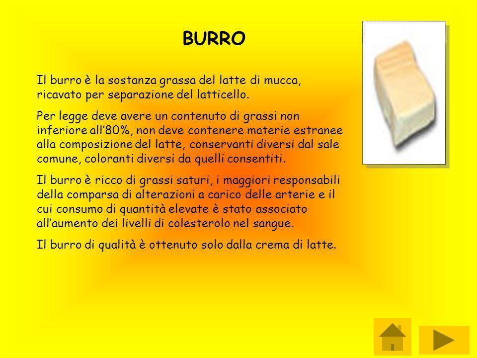 BURRO Il burro è la sostanza grassa del latte di mucca, ricavato per separazione del latticello. Per legge deve avere un contenuto di grassi non infer