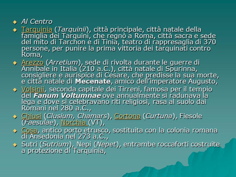 CITTA Al Nord Al Nord Bologna (Felsina), città principale, sede di industrie, Bologna (Felsina), città principale, sede di industrie, Bologna Marzabotto (Misa), città industriale, con moderno sistema fognario e condutture per il deflusso delle acque industriali, Marzabotto (Misa), città industriale, con moderno sistema fognario e condutture per il deflusso delle acque industriali, Marzabotto Adria, città portuale di grandissimi commerci con la Grecia, lAsia Minore e lEgitto, Adria, città portuale di grandissimi commerci con la Grecia, lAsia Minore e lEgitto, Adria Spina, città portuale, che conservò la propria autonomia dopo linvasione dei Galli, luogo di fiorenti commerci prima di terracotte, di vasi, di bronzi e poi di grano con la Grecia, teatro di piraterie ad opera degli stessi Etruschi che sabotavano il commercio del grano con i Galli, Spina, città portuale, che conservò la propria autonomia dopo linvasione dei Galli, luogo di fiorenti commerci prima di terracotte, di vasi, di bronzi e poi di grano con la Grecia, teatro di piraterie ad opera degli stessi Etruschi che sabotavano il commercio del grano con i Galli, Spina Milano, Brescia, Modena, Parma, Milano, Brescia, Modena, Parma, Mantova (Mantua), città natale di Virgilio che conservò la propria indipendenza durante linvasione dei Galli Mantova (Mantua), città natale di Virgilio che conservò la propria indipendenza durante linvasione dei Galli Piacenza (Placentia), divenuta roccaforte romana dopo le vittorie sui Galli.