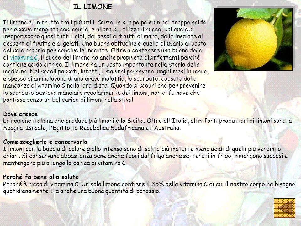 IL LIMONE Il limone è un frutto tra i più utili. Certo, la sua polpa è un po' troppo acida per essere mangiata così com'è, e allora si utilizza il suc