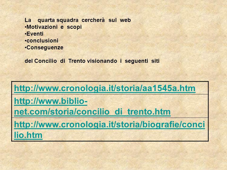 La quarta squadra cercherà sul web Motivazioni e scopi Eventi conclusioni Conseguenze del Concilio di Trento visionando i seguenti siti http://www.cro