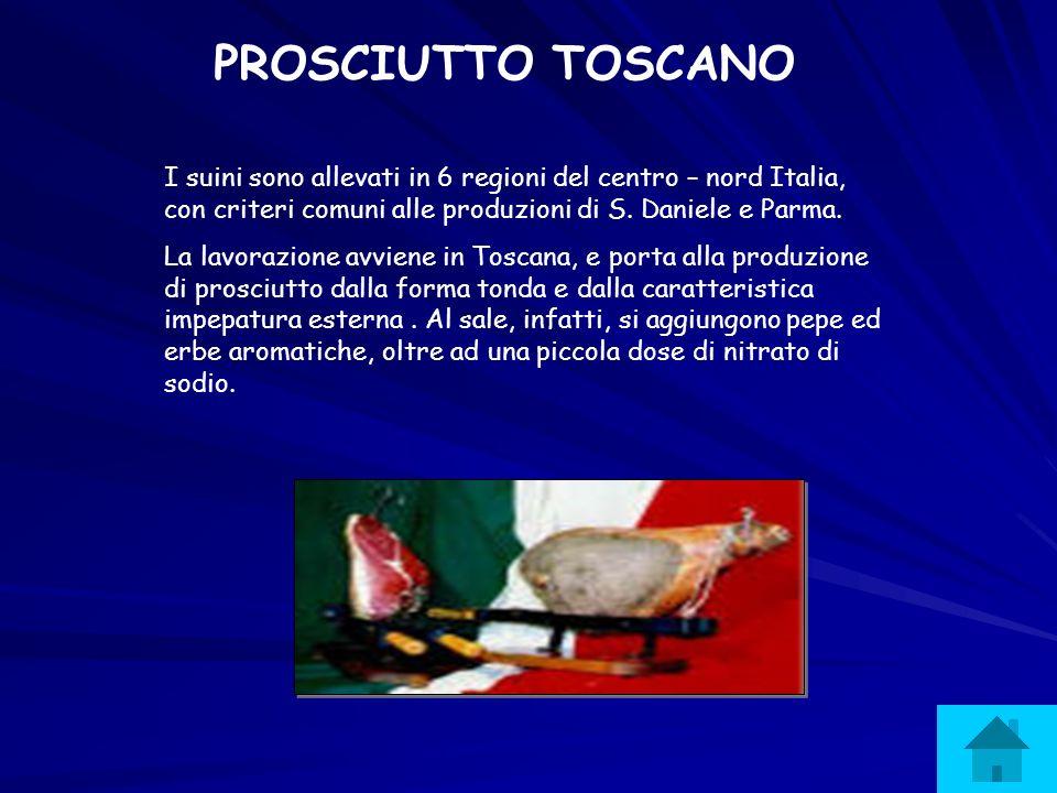PROSCIUTTO TOSCANO I suini sono allevati in 6 regioni del centro – nord Italia, con criteri comuni alle produzioni di S. Daniele e Parma. La lavorazio