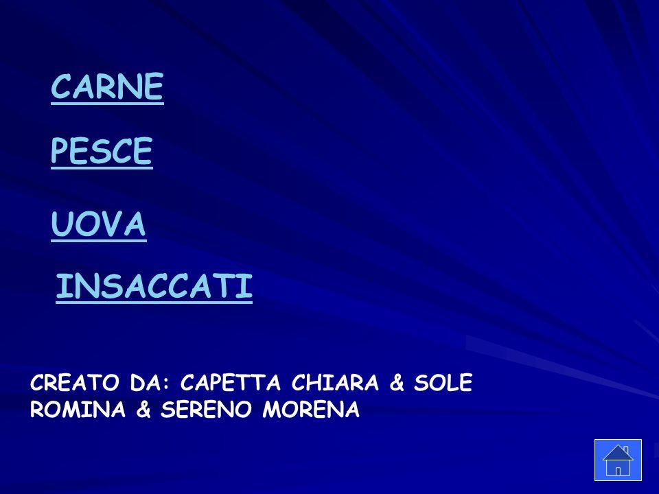 CARNE PESCE UOVA CREATO DA: CAPETTA CHIARA & SOLE ROMINA & SERENO MORENA INSACCATI
