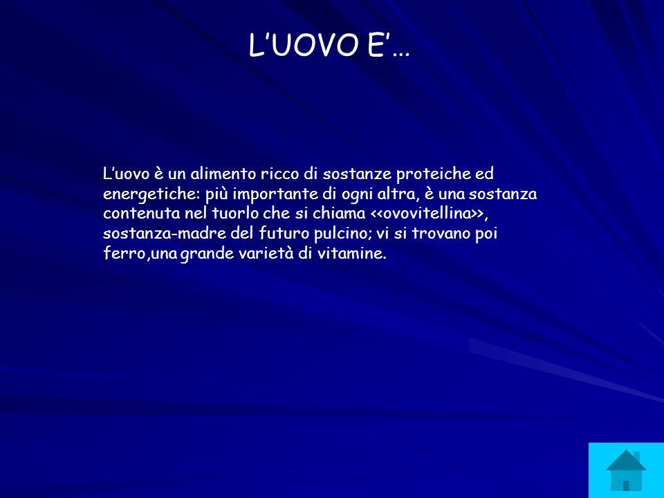 Luovo è un alimento ricco di sostanze proteiche ed energetiche: più importante di ogni altra, è una sostanza contenuta nel tuorlo che si chiama >, sos