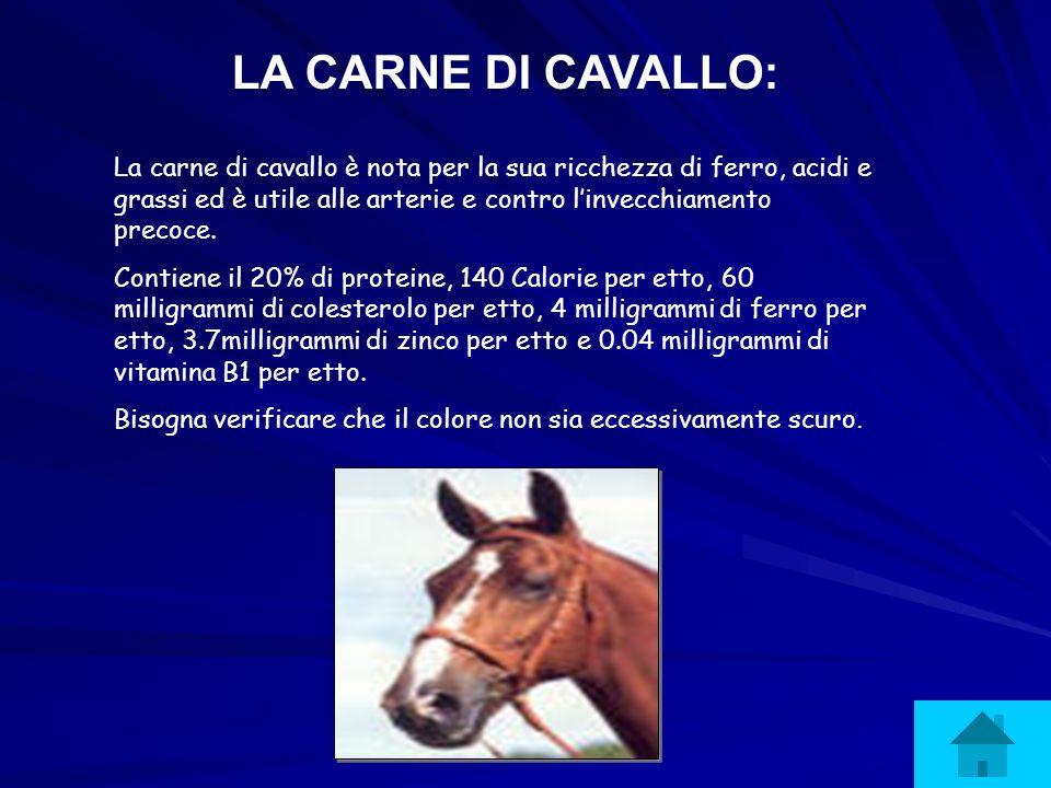 LA CARNE DI CAVALLO: La carne di cavallo è nota per la sua ricchezza di ferro, acidi e grassi ed è utile alle arterie e contro linvecchiamento precoce