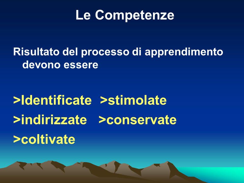 Le Competenze Risultato del processo di apprendimento devono essere >Identificate >stimolate >indirizzate >conservate >coltivate