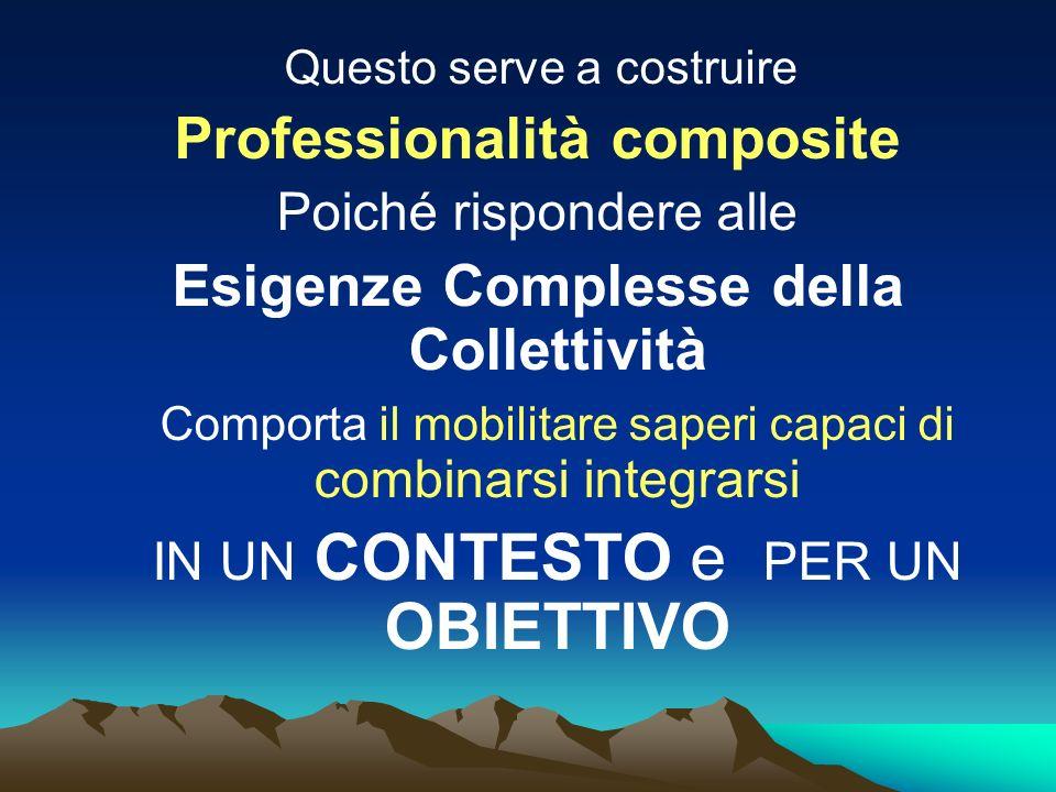 Questo serve a costruire Professionalità composite Poiché rispondere alle Esigenze Complesse della Collettività Comporta il mobilitare saperi capaci di combinarsi integrarsi IN UN CONTESTO e PER UN OBIETTIVO