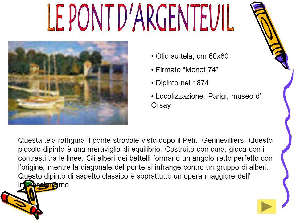 Olio su tela, cm 60x80 Firmato Monet 74 Dipinto nel 1874 Localizzazione: Parigi, museo d Orsay Questa tela raffigura il ponte stradale visto dopo il P