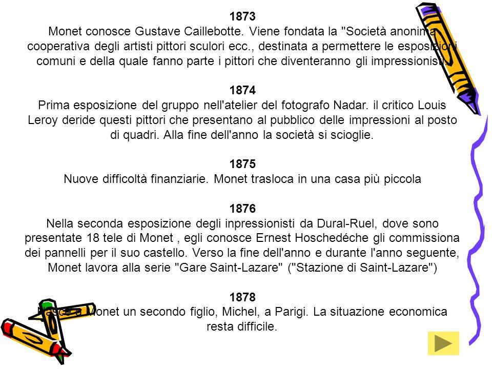 1873 Monet conosce Gustave Caillebotte. Viene fondata la