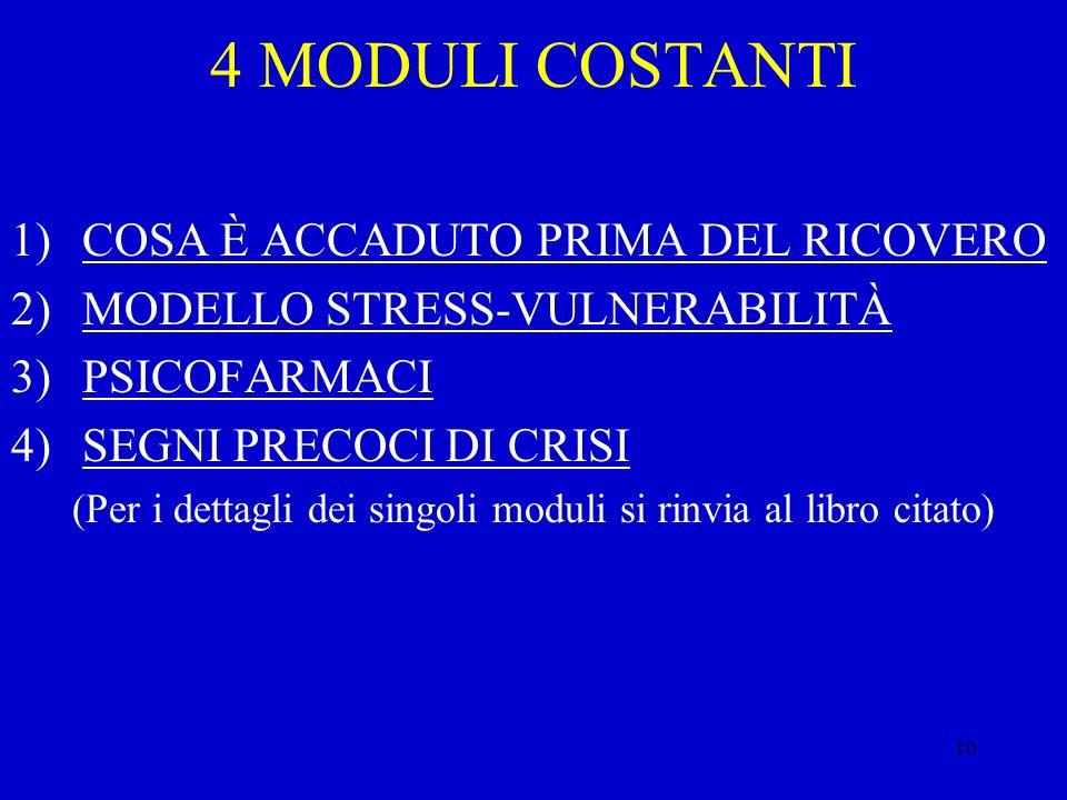 10 4 MODULI COSTANTI 1)COSA È ACCADUTO PRIMA DEL RICOVERO 2)MODELLO STRESS-VULNERABILITÀ 3)PSICOFARMACI 4)SEGNI PRECOCI DI CRISI (Per i dettagli dei s