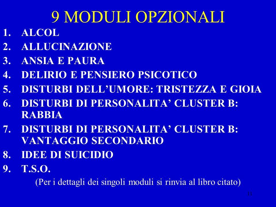 11 9 MODULI OPZIONALI 1.ALCOL 2.ALLUCINAZIONE 3.ANSIA E PAURA 4.DELIRIO E PENSIERO PSICOTICO 5.DISTURBI DELLUMORE: TRISTEZZA E GIOIA 6.DISTURBI DI PER